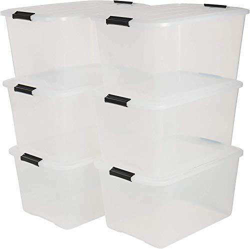 Iris 6er-Set stapelbare Aufbewahrungsboxen Top Box, mit Deckel und Klickverschluss, 45 Liter, Kunststoff / Plastik, transparent