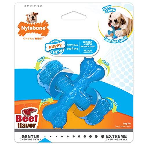 Nylabone Kauspielzeug für Welpen Zahnen Knochen aus Rindfleisch Geschmack Hund kauen