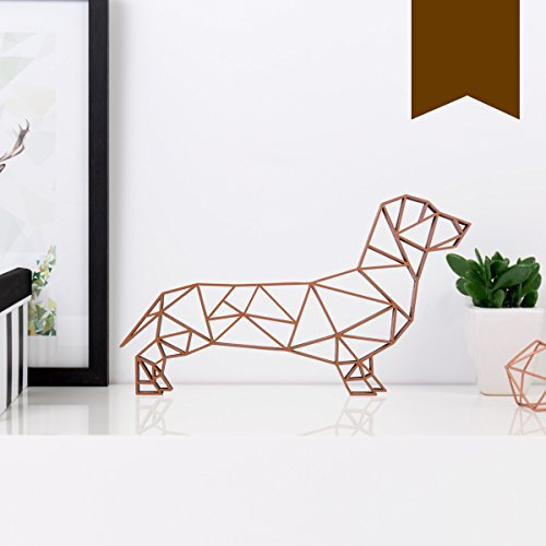 KLEINLAUT 3D-Origamis aus Holz - Wähle EIN Motiv & Farbe - Dackel - 20 x 11,5 cm (M) - Braun