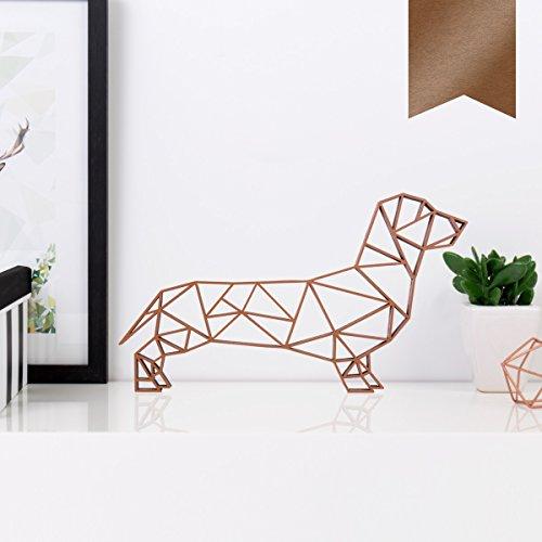 KLEINLAUT 3D-Origamis aus Holz - Wähle EIN Motiv & Farbe - Dackel - 20 x 11,5 cm (M) - Kupfer