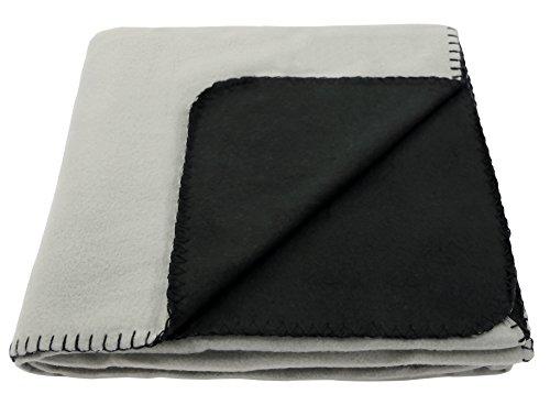 Polar Fleece Doubleface Decke/Wendedecke 130x160 cm kuschelig und softig weich (hellgrau/schwarz)