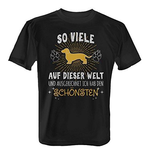 Fashionalarm Herren T-Shirt - Ich hab den schönsten Dackel | Fun Shirt mit Spruch Geschenk Idee Hundebesitzer Herrchen Hund Rasse Dachshund, Farbe:schwarz;Größe:XL