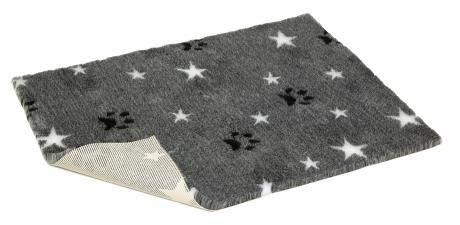 Vetbed nsgbpws2620rutschfest grau mit schwarz Pfoten und weiß Sterne