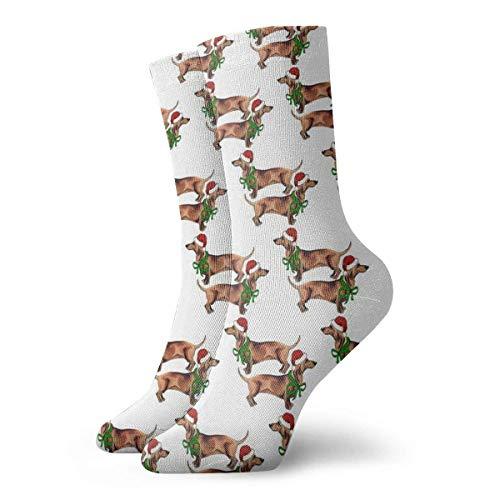 Jxrodekz Weihnachten Dackel Männer Frauen Neuheit Lustige Verrückte Crew Socke Gedruckt Sport Sportliche Socken 30 cm Lange Personalisierte Geschenk So