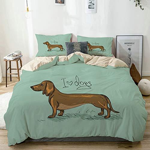 Minalo Bettwäsche-Set,Beige,Dackel detaillierte Puppy Design Print,1 Bettbezug 200x200 + 2 Kopfkissenbezug 50x80,Double