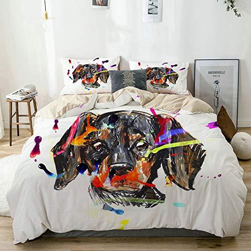 Minalo Bettwäsche-Set,Mikrofaser,Beige,Der Kopf des Hundes Avatar Dackel Gemälde,1 Bettbezug 200x200 + 2 Kopfkissenbezug