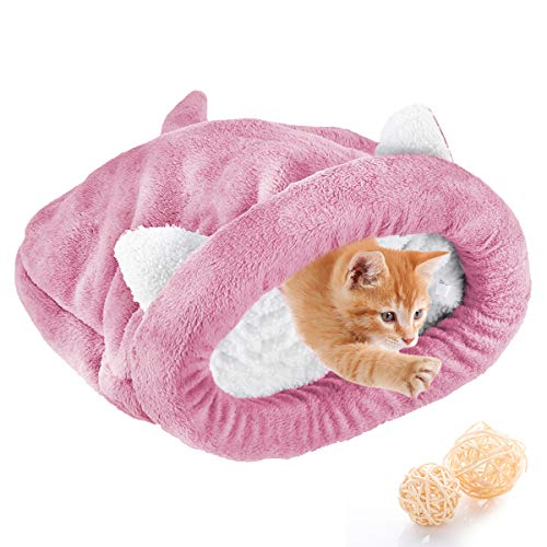 Haokaini Fleece Weiche Katze Schlafsack Erwärmung Waschbare Haustierbetten Kuschelsack Decke Matte Katzen Hunde Nest Höhlenhaus Gemütlich Bedeckt Kitty Welpenbett (Rosa M)