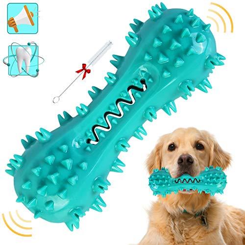 Hundespielzeug Kauspielzeug Welpen, Langlebiges Naturkautschuk Hundezahnbürste Kauspielzeug mit Quietschelement, Zahnreinigung Kauspielzeug für Mittelgroße und Großen Hunde