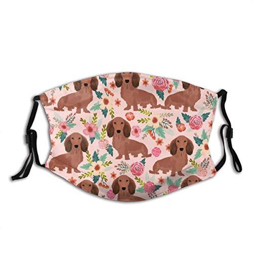 Unisex Stoff Mas-Ke Mit Filter Dackel FloralDogs Doxies Nette Doxie Weiner HundeNiedliche Hunde Blumen Design, Gesicht schützen Mas-Ke Bandana