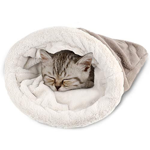 Katzenschlafsack Flauschig Warmer Kuschelsack Katzen Bett Kuschelhöhle Kuschelbett Katzensack Abnehmbare Waschbare Katzenmatte Warm Haustierbett Für Katzen Meerschweinchen Kleiner Hund (Grau)
