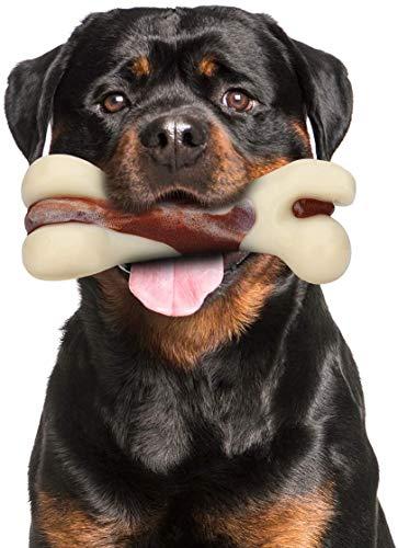 Mumba Hundespielzeug Knochen Unzerstörbar Kauspielzeug Hund für Aggressive Kauer Rindfleischgeschmack Kauknochen Sichere und Langlebige Hundeknochen für große/mittelgroße Hunde und Welpen (L)
